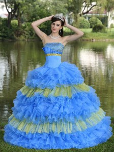 Beaded Decorate Bust Sequins Organza Multi-color Strapless Tiered Sweet Quinceanera Dress
