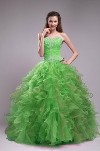 Spring Green Ball Gown Sweetheart Floor-length Orangza Appliques Quinceanera Dress