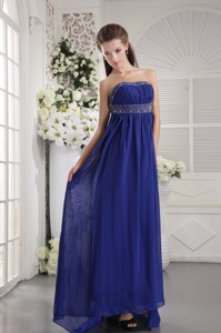 Blue Empire Strapless Brush Train Chiffon Beading Prom / Evening Dress