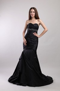 Black Mermaid Sweetheart Court Train Taffeta Beading Prom / Evening Dress
