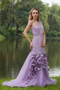 Lilac Column / Sheath One Shoulder Sweep / Brush Organza Hand Flowers Evening Dress