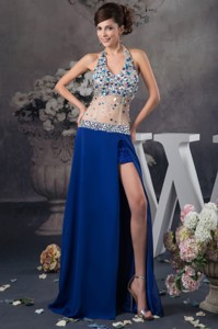 Blue Halter Evening Dress With Rhinestone And Sheer Waist In Vogue