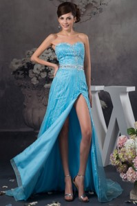 Popular Beaded Aqua Blue Brush Train Evening Dress With High Slit