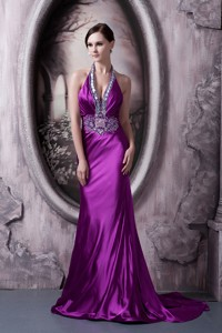 Affordable Eggplant Purple Evening Dress Column Halter Silk Like Satin Beading and Appliques Brush T