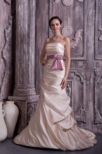 Modest Champagne Evening Dress Princess Strapless Belt And Beading Satin Brush Train