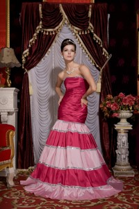 Unique Hot Pink Mermaid Prom / Evening Dress Strapless Taffeta Sequins Brush Train