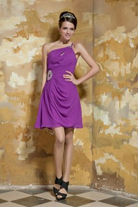 Lavender Empire One Shoulder Mini-length Chiffon Beading Evening Dress