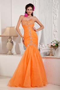 Orange Mermaid Sweetheart Floor-length Organza Beading Evening Dress