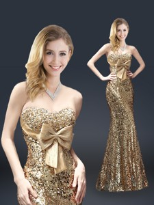 Fall Column Sequins Evening Dress With Bowknot In Gold