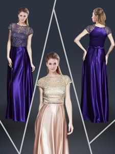 Empire Bateau Evening Dress With Appliques And Belt