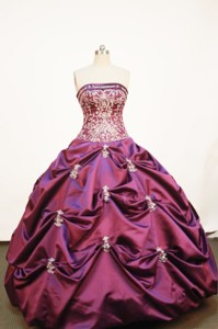 Affordable Ball gown Strapless Floor-length Taffeta Purple Quinceanera Dress