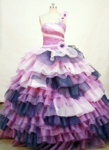 Exclusive Ball Gown One Shoulder Neck Floor-length Organza Colorfull Quinceanera Dress