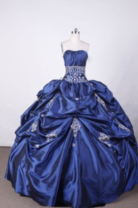 Luxurious Ball Gown Strapless FLoor-Length Appliques And Beading Blue Quinceanera Dress