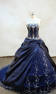 Brand New ball gown strapless chapel navy blue taffeta appliques with beading quinceanera dress