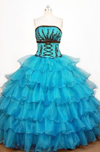 Perfect Ball Gown Strapless Floor-length Teal Organza Quinceanera Dress
