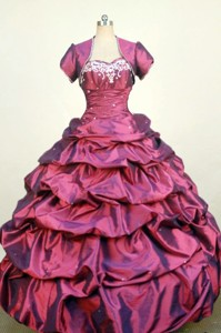 Luxurious Ball Gown Sweetheart Neck Floor-Length Red Beading and Appliques Quinceanera Dress