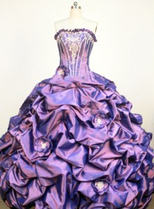 Classical Ball Gown Strapless Floor-Lengtrh Purple Appliques and Hand Flower Quinceanera Dress