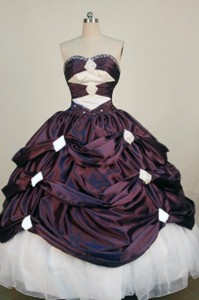 Exclusive Ball Gown Sweetheart Neck Floor-length Burgundy Beading Quinceanera Dress