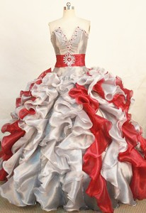 Gorgeous Ball Gown Strapless Floor-length Sliver Organza Beading Quinceanera Dress