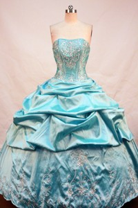 Affordable Ball Gown Strapless Floor-length Teal Taffeta Beading Quinceanera Dress