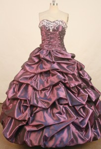 Affordable Ball Gown Sweetheart Floor-length Dark Puple Taffeta Embroidery Quinceanera Dress