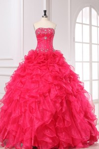 Beading and Ruffles Strapless Organza Quinceanera Dress in Coral Red
