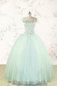 Cheap Light Blue Sweet 15 Dress With Beading