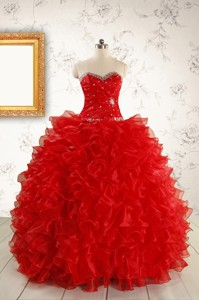 Pretty Ball Gown Sweetheart Red Quinceanera Dress With Beading