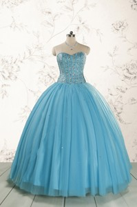 Brand New Style Ball Gown Beading Quinceanera Dress In Baby Blue