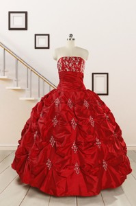 Cheap Appiques Beading Quinceanera Dress In Red
