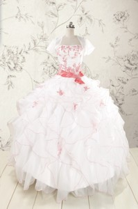 Pretty Appliques And Ruffles Quinceanera Dress With Strapless