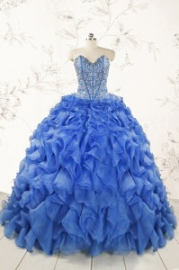 Hot Sale Beading Royal Blue Sweet 15 Dress With Sweep Train