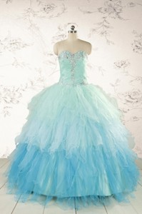 Fashionable Multi-color Quinceanera Dress With Beading And Ruffles