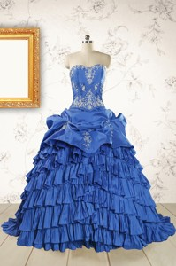 Modern Brush Train Appliques Sweet 15 Dress In Royal Blue