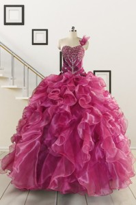 Exclusive Beading One Shoulder Sweet 16 Dress In Fuchsia