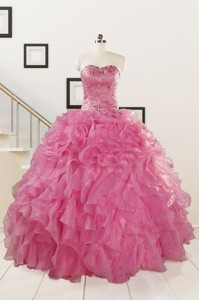 Pink Pretty Quinceanera Dress Sweetheart With Ruffles
