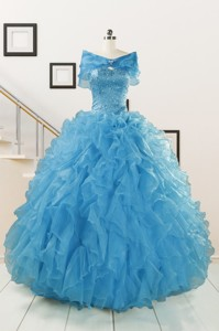 Hot Sell Blue Quinceanera Dress With Beading And Ruffles