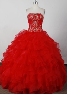 Elegant Ball Gown Strapless Floor-length Red Quinceanera Dress