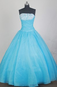 Elegant Ball Gown Strapless Floor-length Baby Blue Quinceanera Dress
