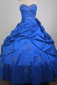 Gorgeous Ball Gown Sweetheart Neck Sweetheart Neck Floor-length Blue Quinceanera Dress