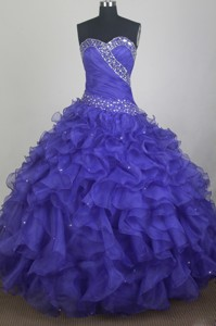 Gorgeous Ball Gown Sweetheart Neck Floor-length Blue Quinceanera Dress