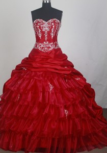 Exclusive Ball Gown Sweetheart Neck Floor-length Red Quinceanera Dress