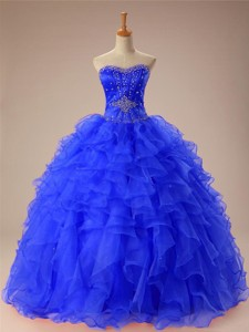 Artistic Beaded And Ruffles Quinceanera Dress In Organza