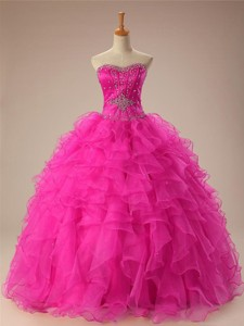 Sexy Sweetheart Ball Gown Sweet 16 Dress In Hot Pink