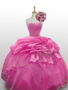 Romantic Sweetheart Rose Pink Quinceanera Dress