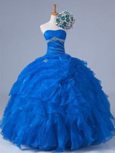 Pretty Strapless Quinceanera Dress With Beading And Ruffles