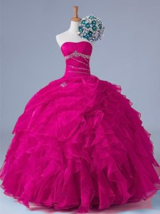 Popular Strapless Beaded Quinceanera Gowns In Fuchsia