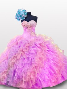 Sweetheart Sequins And Ruffles Quinceanera Gowns In Organza