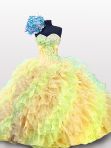 Puffy Multi Color Beading Quinceanera Dress With Sweetheart