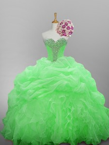 Affordable Beaded Quinceanera Dress In Organza